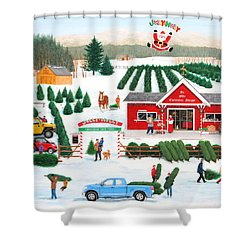 A Jolly Holly Holiday Shower Curtain