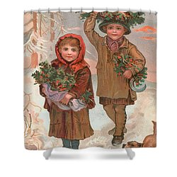 A Joyful Christmas To You   Victorian Christmas Card  Shower Curtain by English School
