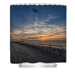 Shower Curtain featuring the photograph a kodak moment at the Tel Aviv port by Ron Shoshani