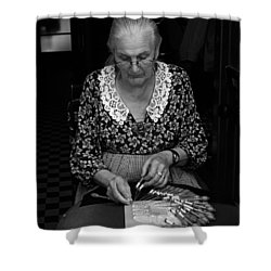 A Lacemaker In Bruges Shower Curtain by RicardMN Photography