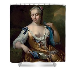 A Lady In A Landscape With A Fly On Her Shoulder Shower Curtain by Frans van der Mijn