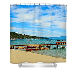 A Lake Tahoe Pier View Shower Curtain