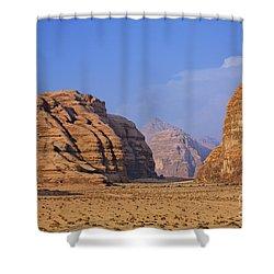 A Landscape Of Rocky Outcrops In The Desert Of Wadi Rum In Jordan Shower Curtain by Robert Preston