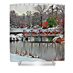 Shower Curtain featuring the photograph A Light Dusting Of Snow by Judy Palkimas
