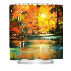 A Light In The Forest Shower Curtain by Al Brown