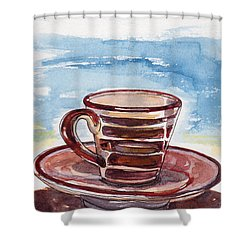 A Little Espresso Shower Curtain by Julie Maas