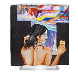 A Look Into The Past Hand Embroidery Shower Curtain by To-Tam Gerwe