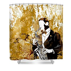 A Love For Sax Shower Curtain by Stanley Mathis