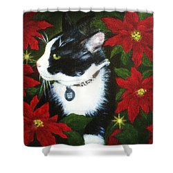 Tuxedo Cat Trouble  Shower Curtain
