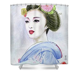 Shower Curtain featuring the drawing A Maiko  Girl by Yoshiko Mishina