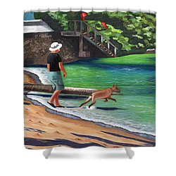 A Man And His Dog Shower Curtain by Laura Forde
