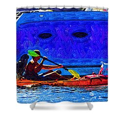 A Man His Kayak And His Dogs Shower Curtain by Kirt Tisdale