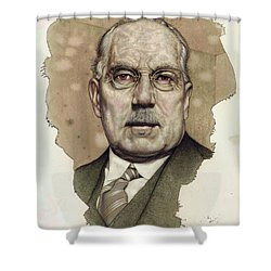 Shower Curtain featuring the painting A Man Who Used To Be A Big Cheese by James W Johnson