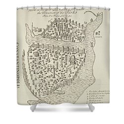 A Map Of Constantinople In 1422 Shower Curtain by Cristoforo Buondelmonti