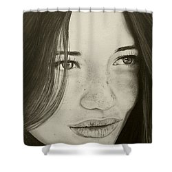 Shower Curtain featuring the painting A Mark Of Beauty - Beauty by Malinda Prudhomme