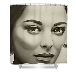 Shower Curtain featuring the painting A Mark Of Beauty - Marion Cotillard by Malinda Prudhomme