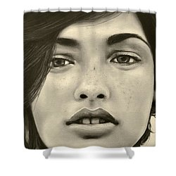 Shower Curtain featuring the painting A Mark Of Beauty - Megan Ewing by Malinda  Prudhomme