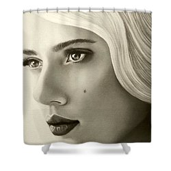 Shower Curtain featuring the painting A Mark Of Beauty - Scarlett Johansson by Malinda Prudhomme