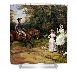 A Meeting By A Stile  Shower Curtain by Heywood Hardy