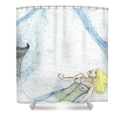 Shower Curtain featuring the drawing A Mermaids Moment by Kim Pate
