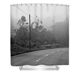 A Misty Country Road Shower Curtain