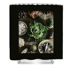 A Mixed Variety Of Food And Ceramic Imitations Shower Curtain