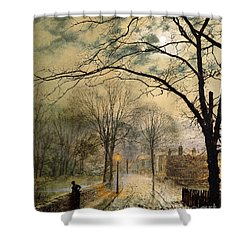 A Moonlit Stroll Bonchurch Isle Of Wight Shower Curtain by John Atkinson Grimshaw