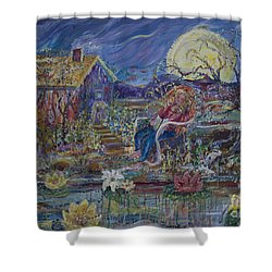 A Nap By The Lily Pond Shower Curtain