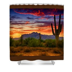 A Painted Desert  Shower Curtain by Saija  Lehtonen
