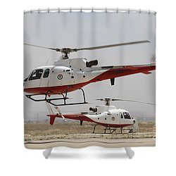 A Pair Of As350 Squirrel Helicopters Shower Curtain by Ofer Zidon