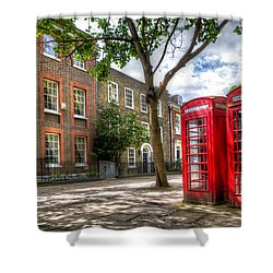 A Pair Of Red Phone Booths Shower Curtain
