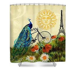A Peacock In Paris Shower Curtain by Peggy Collins