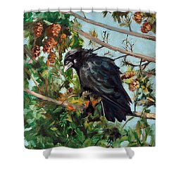 A Perch For Nevermore Shower Curtain