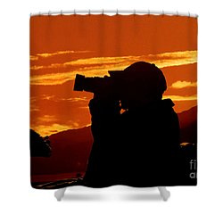 Shower Curtain featuring the photograph A Photographer Enjoying His Work by Kathy Baccari