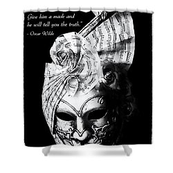 A Picture Of A Venitian Mask Accompanied By An Oscar Wilde Quote Shower Curtain