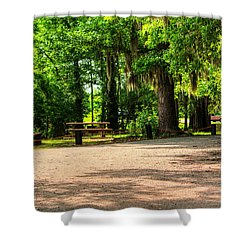 Shower Curtain featuring the photograph A Place For Picnic by Ester  Rogers