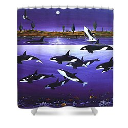Shower Curtain featuring the painting A Pod Of Desert Orcas by Lance Headlee