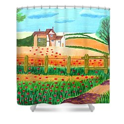 A Poppy Field Shower Curtain by Magdalena Frohnsdorff