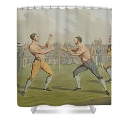A Prize Fight Aquatinted By I Clark Shower Curtain by Henry Thomas Alken