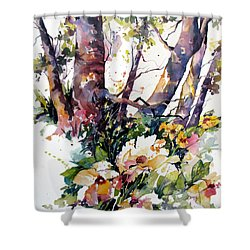 Shower Curtain featuring the painting A Quiet Place by Rae Andrews