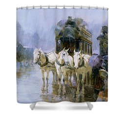 A Rainy Day In Paris Shower Curtain by Ulpiano Checa y Sanz