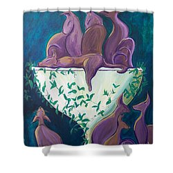 A Rather Elegant Cat Party Shower Curtain