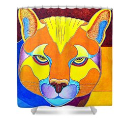 Shower Curtain featuring the painting A Really Bright Cougar by Joseph J Stevens