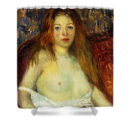 A Red-haired Model Shower Curtain by William James Glackens