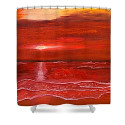 A Red Sunset Shower Curtain