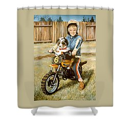 A Ride In The Backyard Shower Curtain by Donna Tucker