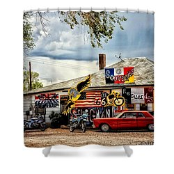A Ride On Route 66 Shower Curtain by Tricia Marchlik