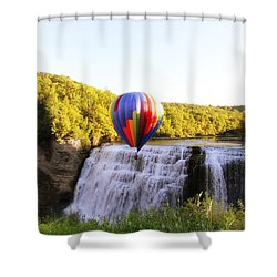 Shower Curtain featuring the photograph A Ride Over The Falls by Trina  Ansel
