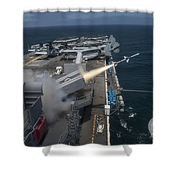 A Rim-7 Sea Sparrow Missile Is Launched Shower Curtain by Stocktrek Images