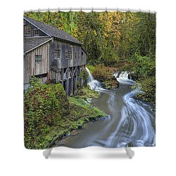 A River Flows Through It Shower Curtain by David Gn